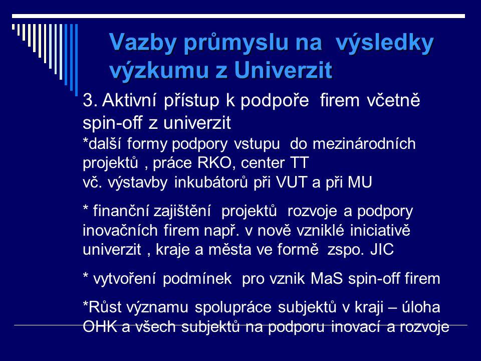 Vazby průmyslu na výsledky výzkumu z Univerzit 3. Aktivní přístup k podpoře firem včetně spin-off z univerzit *další formy podpory vstupu do mezinárod