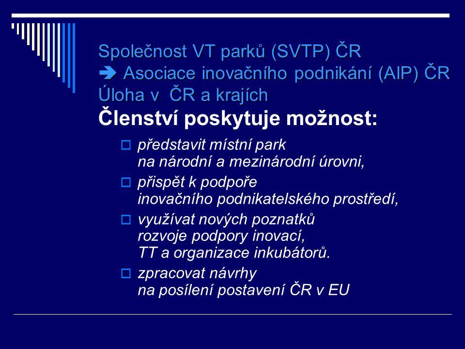  www.svtp.cz  a k parkům v kraji:  www.bicbrno.cz www.bicbrno.cz  www.jic.cz www.jic.cz  www.olli.cz www.olli.cz Informace k činnosti SVTP ČR a k akreditovaným parkům jsou dostupné na adresách :