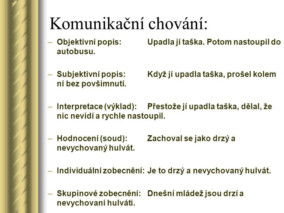 Popisný a hodnotící jazyk Popisný jazyk: –Objektivní záznam –Konkrétně popisuje to, co se skutečně stalo (aby to bylo zřejmé i tomu, kdo danou situaci