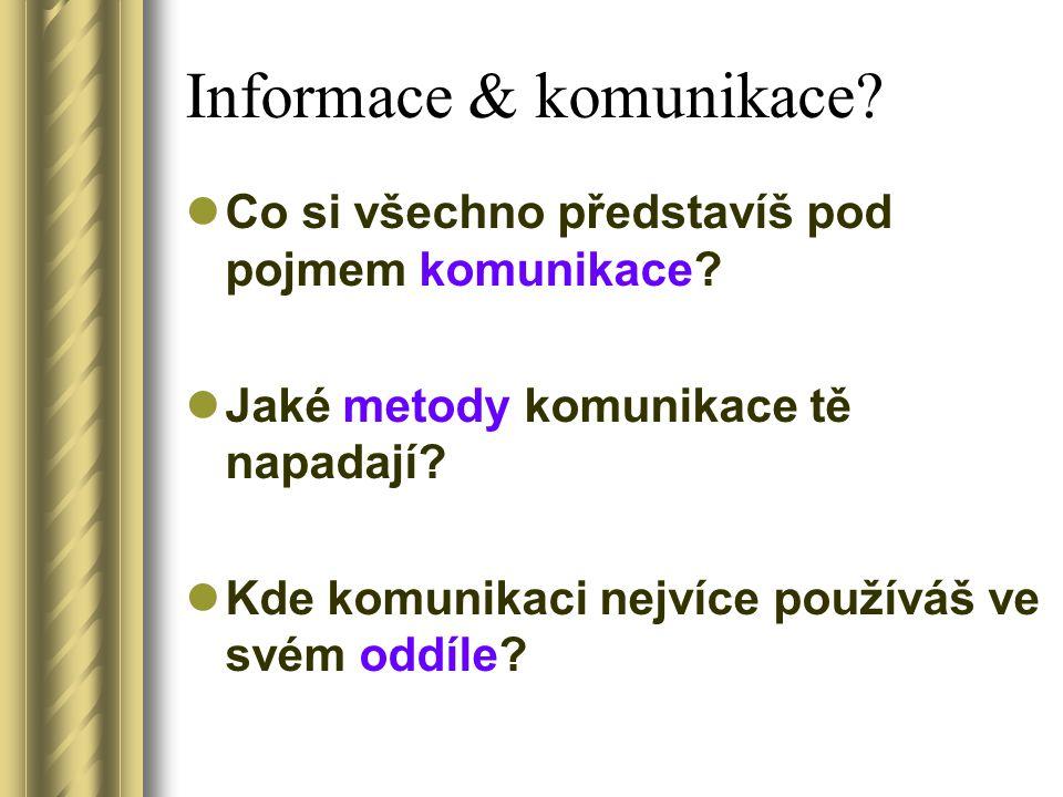Komunikace a informace Cíle: Komunikační trychtýř Dělení osobní komunikace Příjem informace Popisný a hodnotící jazyk Parafrázování Komunikační chován