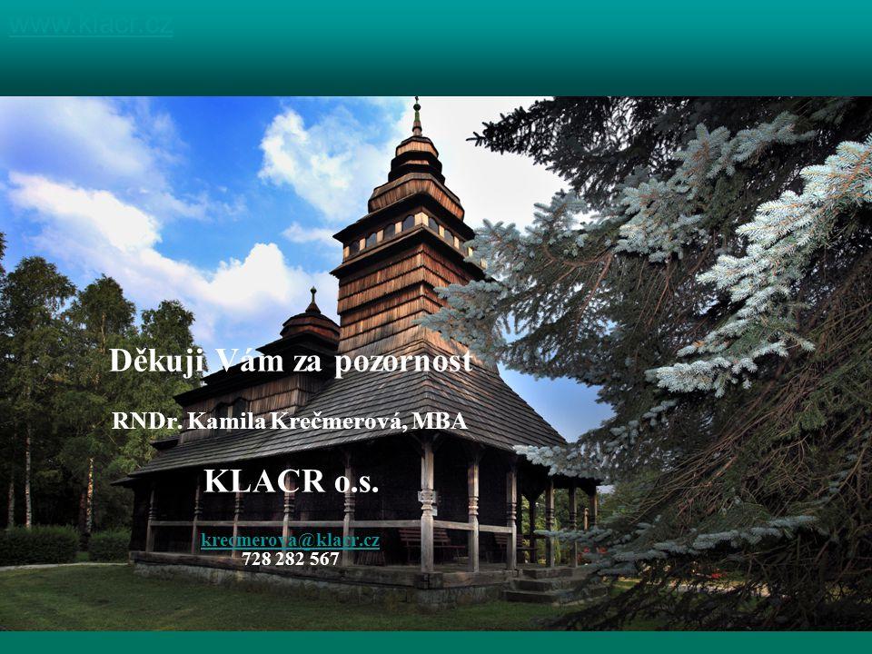 Děkuji Vám za pozornost RNDr. Kamila Krečmerová, MBA KLACR o.s.