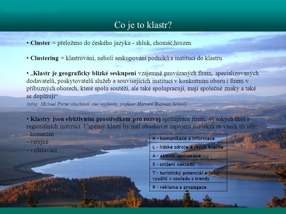 1 kraj, 4 destinace www.klacr.cz Co je to klastr? Cluster = přeloženo do českého jazyka - shluk, chomáč,hrozen Clustering = klastrování, neboli seskup