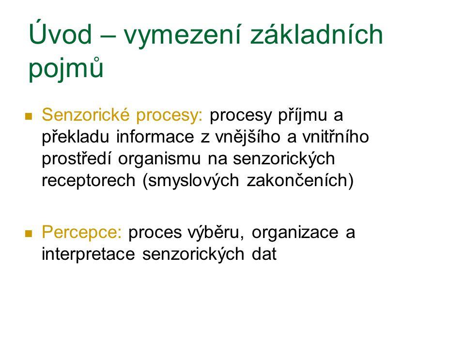 Senzorické procesy: procesy příjmu a překladu informace z vnějšího a vnitřního prostředí organismu na senzorických receptorech (smyslových zakončeních
