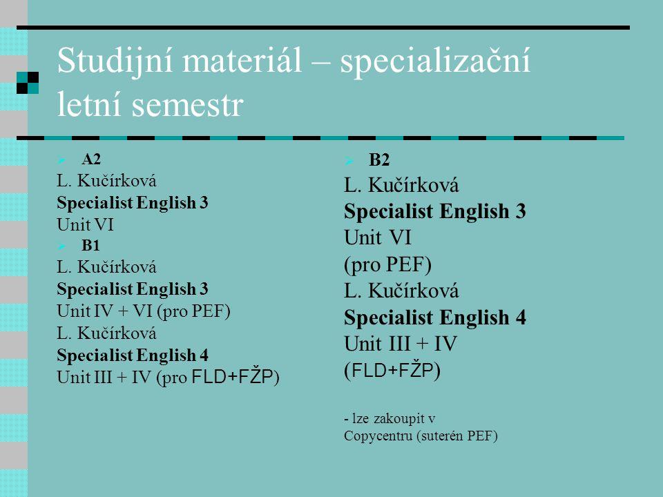 Zápočtový test  Písemná forma  V lednovém bloku  A1 + A2 formou multiple choice (výběr ze 3 možností)  B1 + B2 – různé formy a druhy cvičení  Test je zaměřen na gramatické jevy a slovní zásobu příslušných lekcí učebních materiálů.