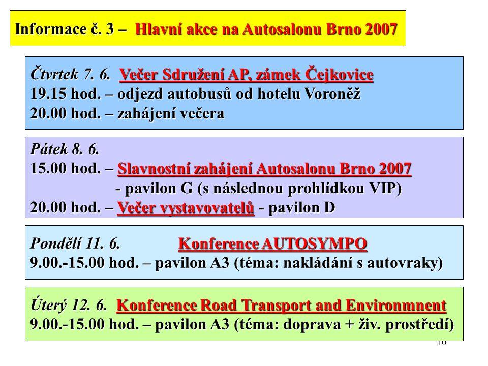 10 Informace č. 3 – Hlavní akce na Autosalonu Brno 2007 Čtvrtek 7.