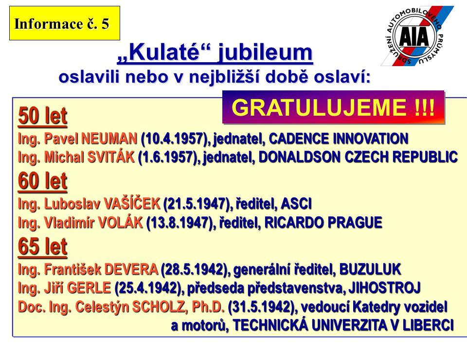 """13 """"Kulaté jubileum oslavili nebo v nejbližší době oslaví: 50 let Ing."""