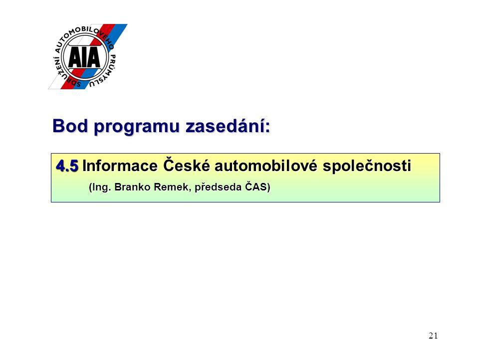 21 Bod programu zasedání: 4.5 Informace České automobilové společnosti (Ing.