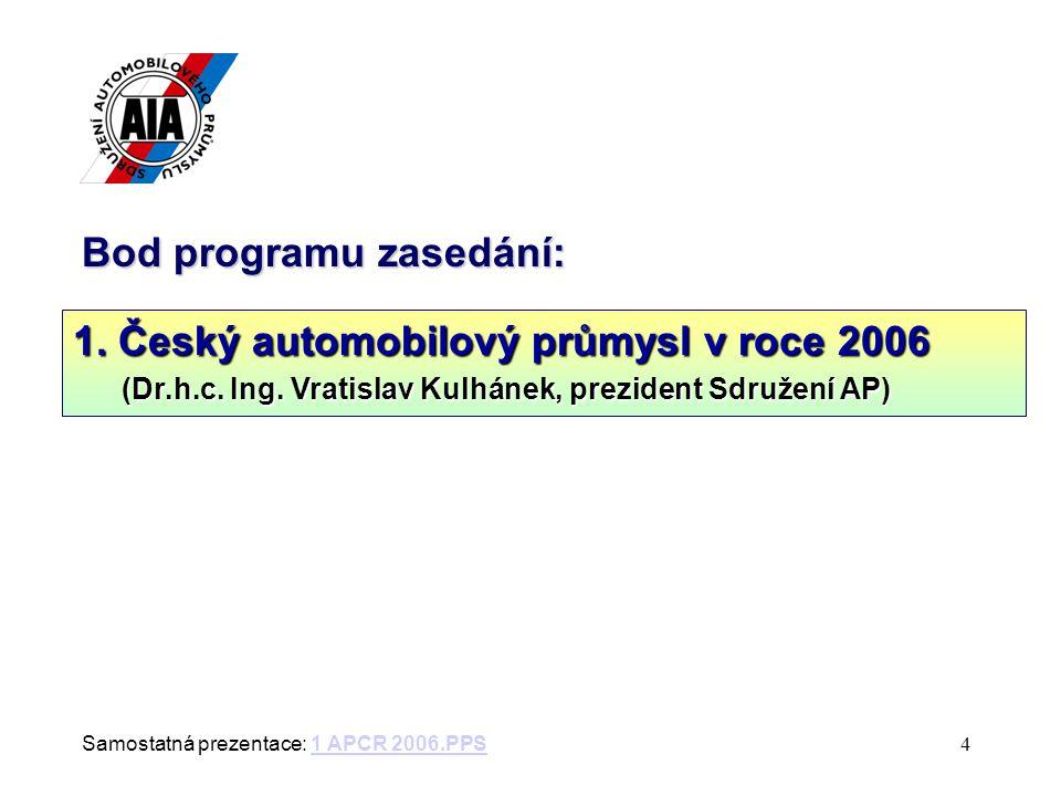 4 Bod programu zasedání: 1. Český automobilový průmysl v roce 2006 (Dr.h.c.