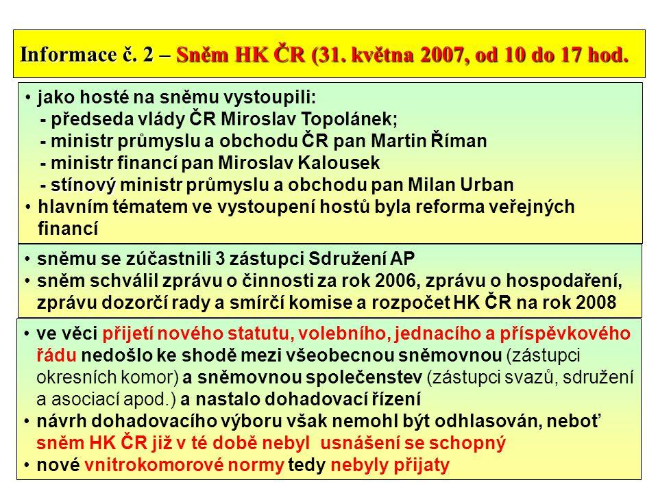 9 Informace č. 2 – Sněm HK ČR (31. května 2007, od 10 do 17 hod.