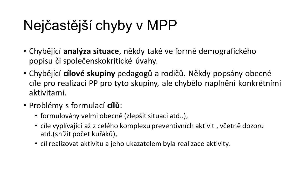 Nejčastější chyby v MPP Chybějící analýza situace, někdy také ve formě demografického popisu či společenskokritické úvahy. Chybějící cílové skupiny pe