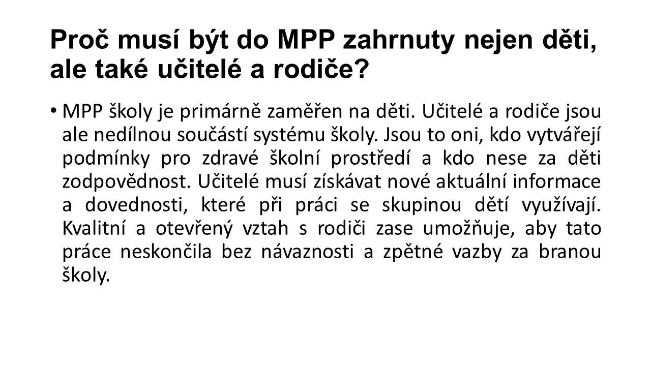 Proč musí být do MPP zahrnuty nejen děti, ale také učitelé a rodiče? MPP školy je primárně zaměřen na děti. Učitelé a rodiče jsou ale nedílnou součást