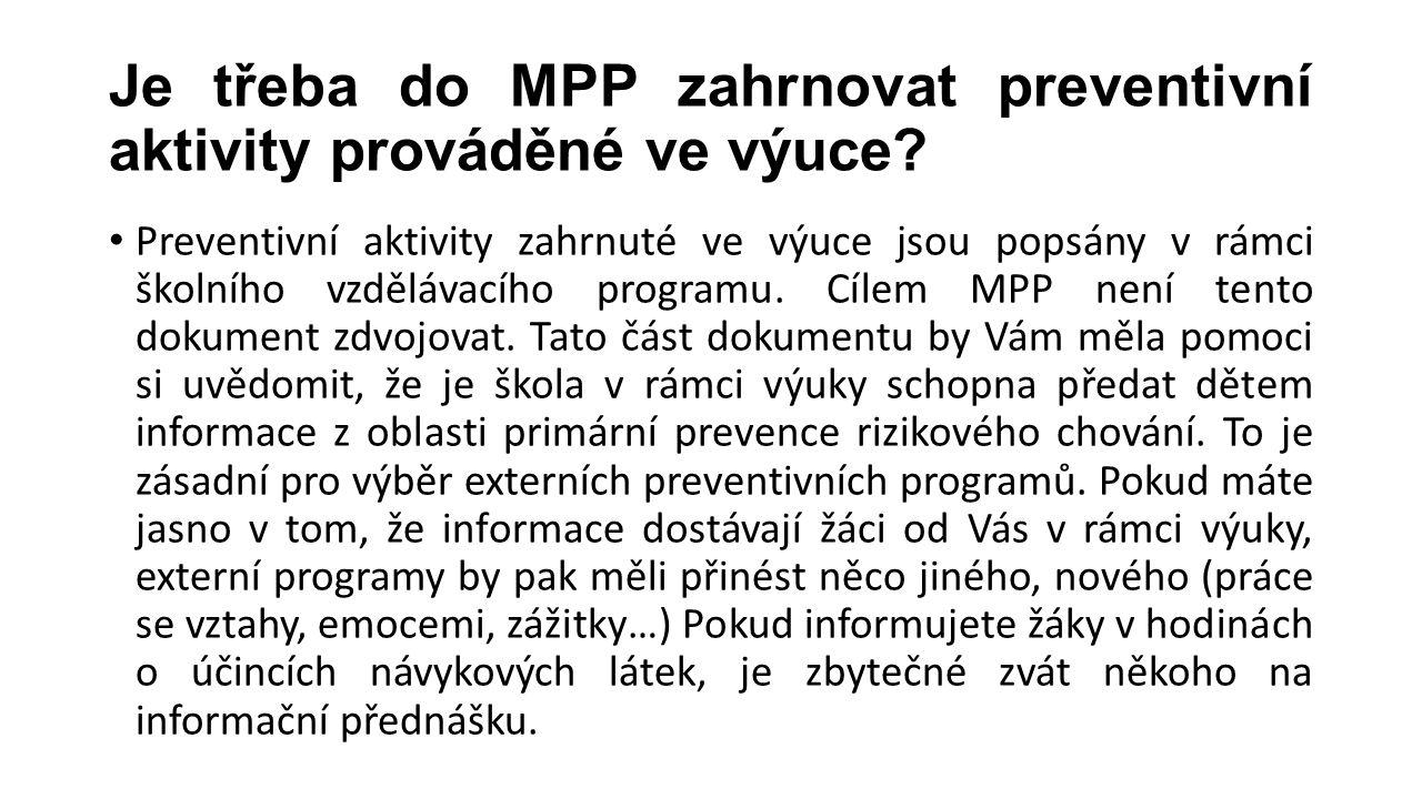 Je třeba do MPP zahrnovat preventivní aktivity prováděné ve výuce? Preventivní aktivity zahrnuté ve výuce jsou popsány v rámci školního vzdělávacího p
