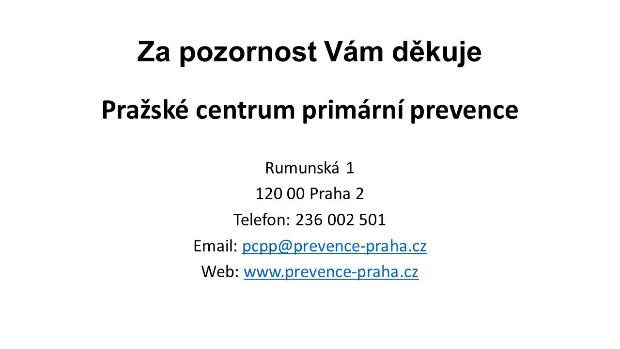 Za pozornost Vám děkuje Pražské centrum primární prevence Rumunská 1 120 00 Praha 2 Telefon: 236 002 501 Email: pcpp@prevence-praha.czpcpp@prevence-pr