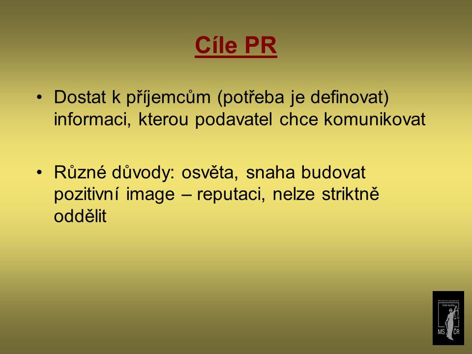 Cíle PR Dostat k příjemcům (potřeba je definovat) informaci, kterou podavatel chce komunikovat Různé důvody: osvěta, snaha budovat pozitivní image – r