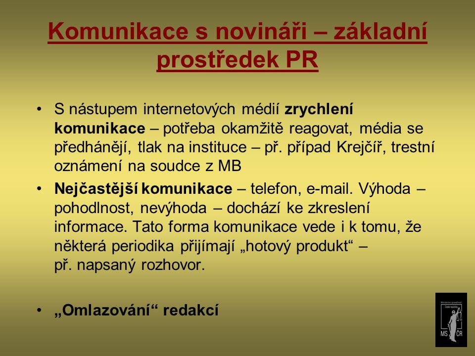 Komunikace s novináři – základní prostředek PR S nástupem internetových médií zrychlení komunikace – potřeba okamžitě reagovat, média se předhánějí, tlak na instituce – př.