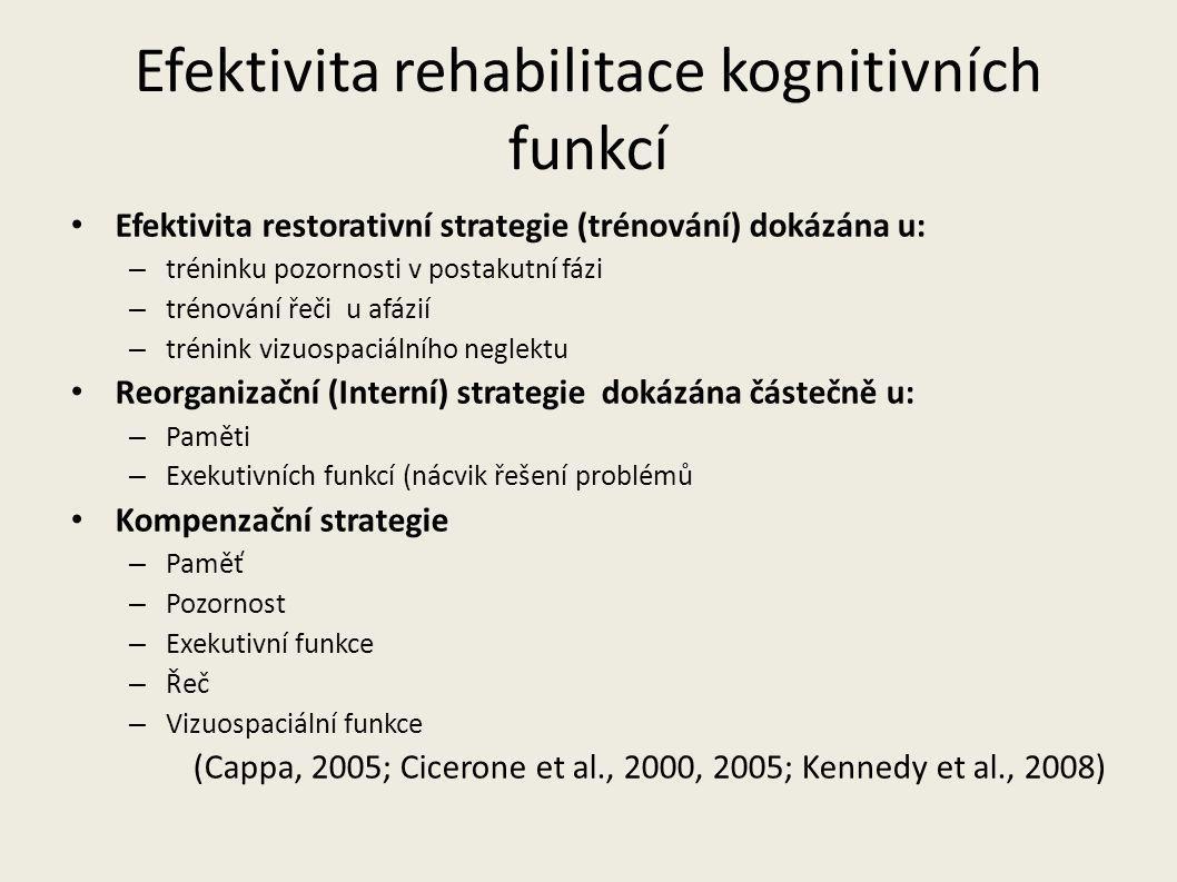 Efektivita rehabilitace kognitivních funkcí Efektivita restorativní strategie (trénování) dokázána u: – tréninku pozornosti v postakutní fázi – trénov