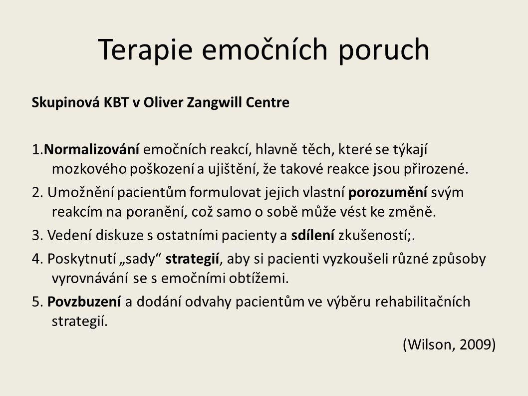 Terapie emočních poruch Skupinová KBT v Oliver Zangwill Centre 1.Normalizování emočních reakcí, hlavně těch, které se týkají mozkového poškození a uji