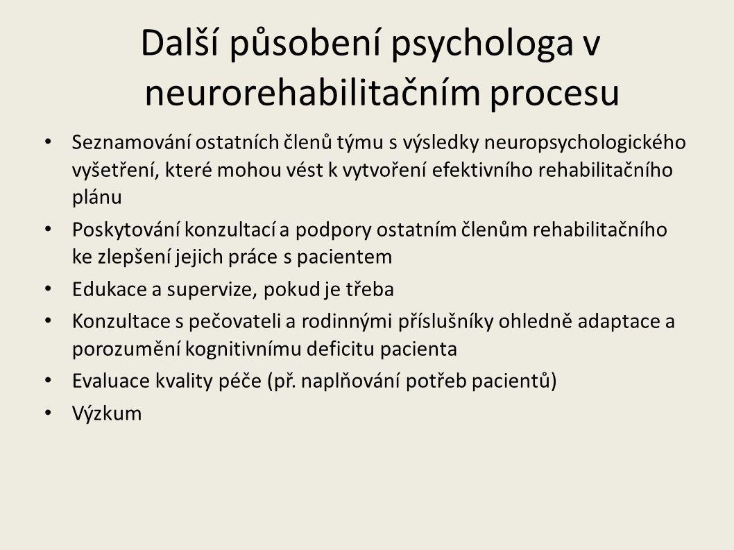 Další působení psychologa v neurorehabilitačním procesu Seznamování ostatních členů týmu s výsledky neuropsychologického vyšetření, které mohou vést k