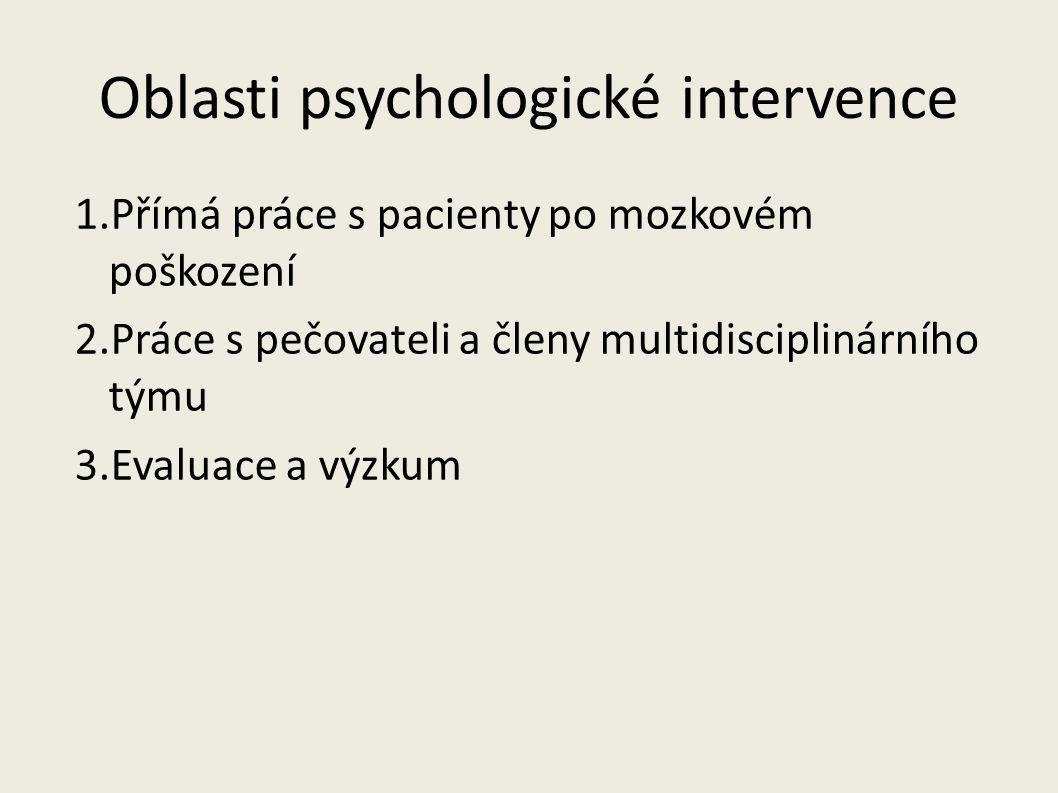 Oblasti psychologické intervence 1.Přímá práce s pacienty po mozkovém poškození 2.Práce s pečovateli a členy multidisciplinárního týmu 3.Evaluace a vý