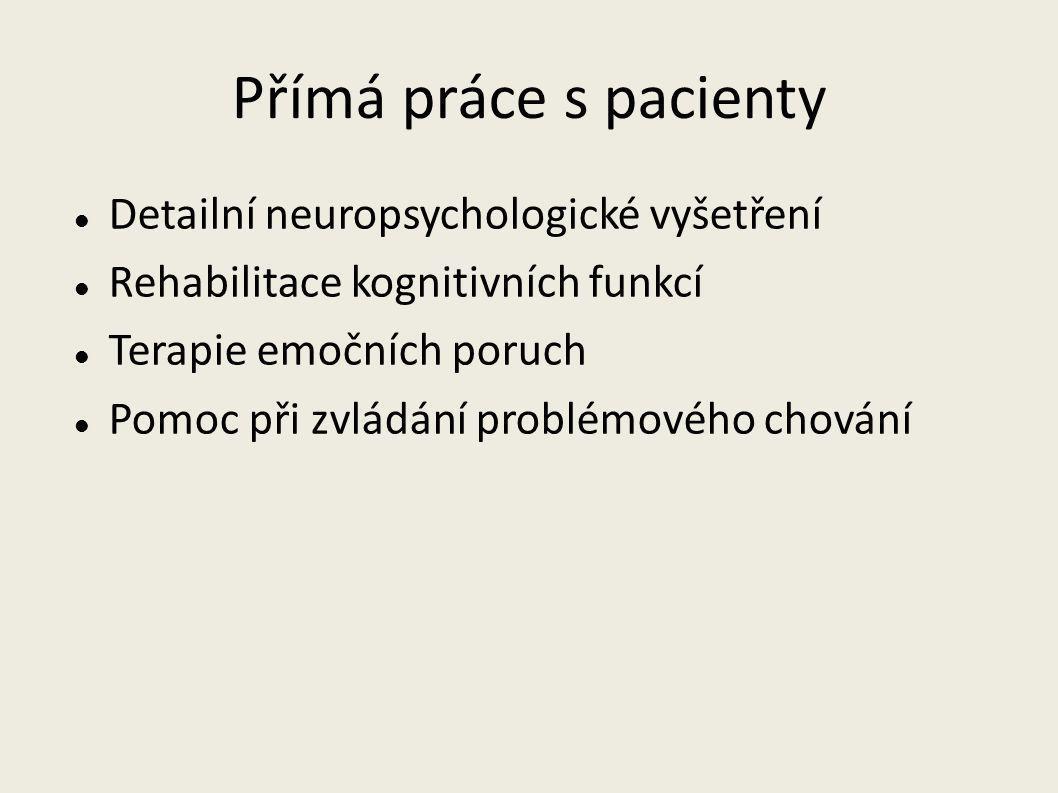 Přímá práce s pacienty Detailní neuropsychologické vyšetření Rehabilitace kognitivních funkcí Terapie emočních poruch Pomoc při zvládání problémového