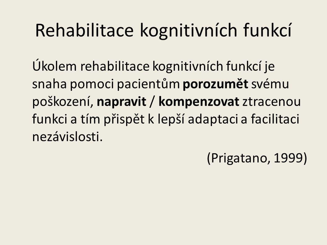 Rehabilitace kognitivních funkcí Restorativní strategie (trénování) = obnovení ztracených dovedností (počítačové tréninkové programy, procvičování paměti) Reorganizační (Interní) strategie = substituce ztracených funkcí zachovalými (př.
