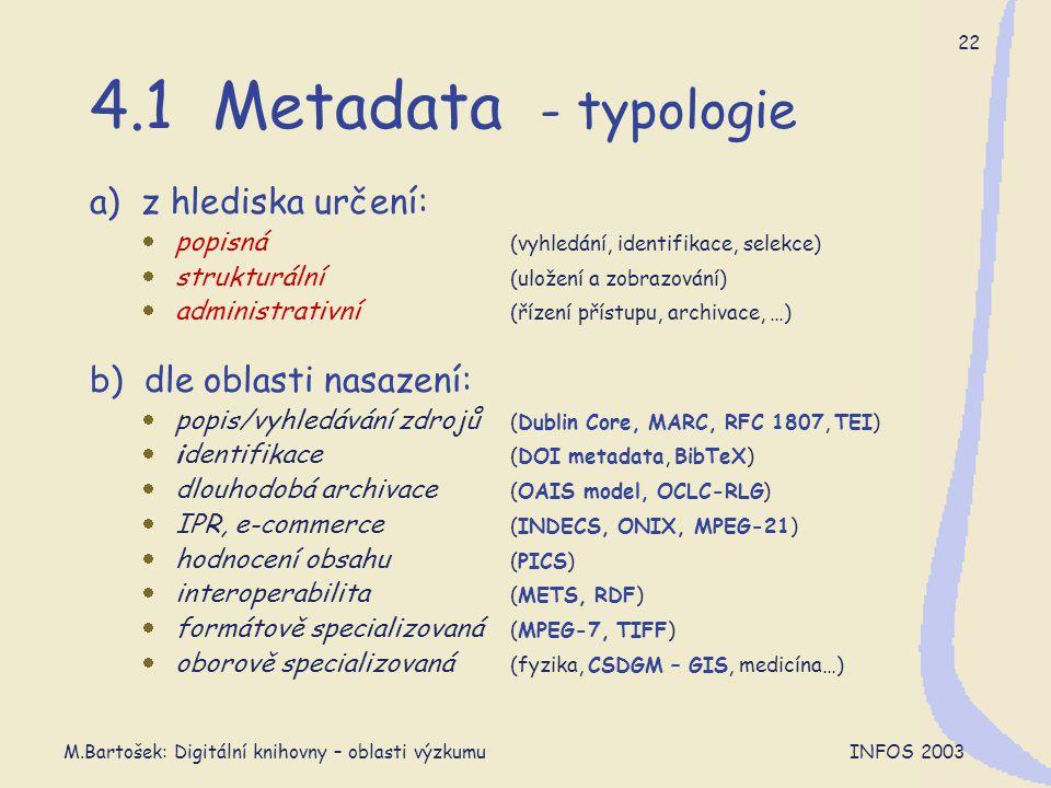 M.Bartošek: Digitální knihovny – oblasti výzkumu INFOS 2003 22 4.1 Metadata - typologie a) z hlediska určení:  popisná (vyhledání, identifikace, sele