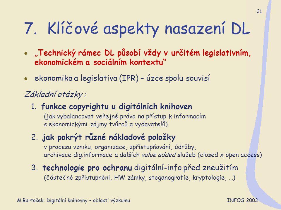 """M.Bartošek: Digitální knihovny – oblasti výzkumu INFOS 2003 31 7. Klíčové aspekty nasazení DL  """"Technický rámec DL působí vždy v určitém legislativní"""