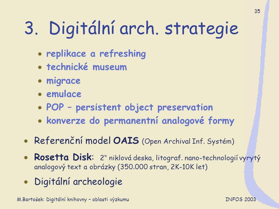 M.Bartošek: Digitální knihovny – oblasti výzkumu INFOS 2003 35 3. Digitální arch. strategie  replikace a refreshing  technické museum  migrace  em