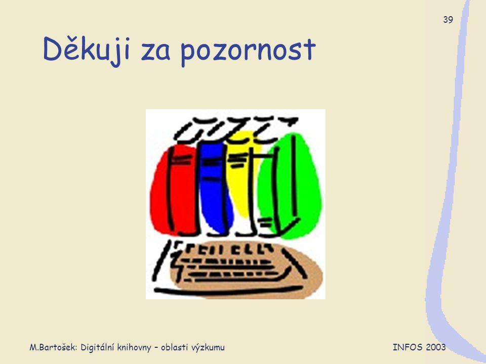 M.Bartošek: Digitální knihovny – oblasti výzkumu INFOS 2003 39 Děkuji za pozornost