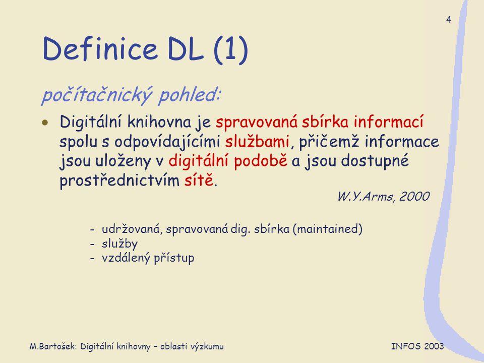 M.Bartošek: Digitální knihovny – oblasti výzkumu INFOS 2003 5 Definice DL (2) knihovnický pohled:  Digitální knihovny jsou organizace, které poskytují zdroje (včetně specializovaného personálu) umožňující provádět výběr, strukturování a zpřístupnění sbírek digitálních prací, tyto práce dále distribuovat, udržovat jejich integritu a dlouhodobě uchovávat – a to vše s ohledem na snadné a ekonomické využití určitou komunitou nebo množinou komunit uživatelů.
