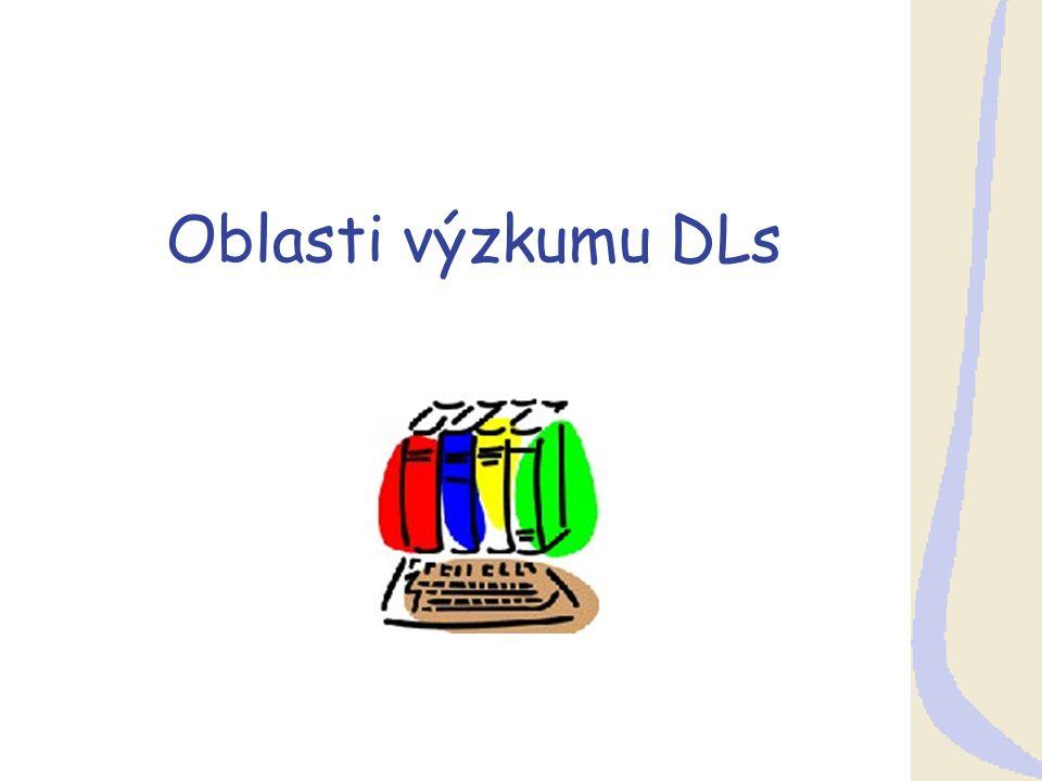 M.Bartošek: Digitální knihovny – oblasti výzkumu INFOS 2003 8 obecná architektura DL intelektuální vlastnictví & ekonomika vícejazyčný přístup k informacím metadata interoperabilita globální vyhledávání zdrojů zobecněný model dokumenu dlouhodobé uchovávání digitální informace budování sbírek digitalizaceborn digitalharvesting