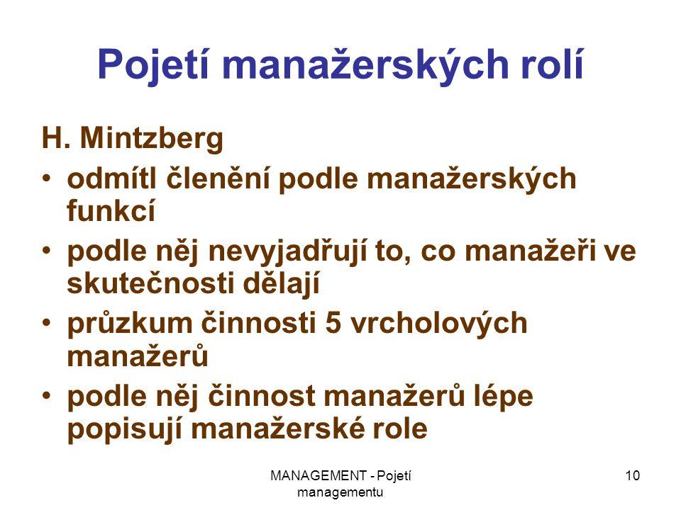 MANAGEMENT - Pojetí managementu 10 Pojetí manažerských rolí H. Mintzberg odmítl členění podle manažerských funkcí podle něj nevyjadřují to, co manažeř