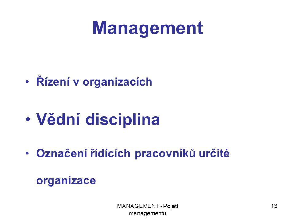 MANAGEMENT - Pojetí managementu 13 Management Řízení v organizacích Vědní disciplina Označení řídících pracovníků určité organizace