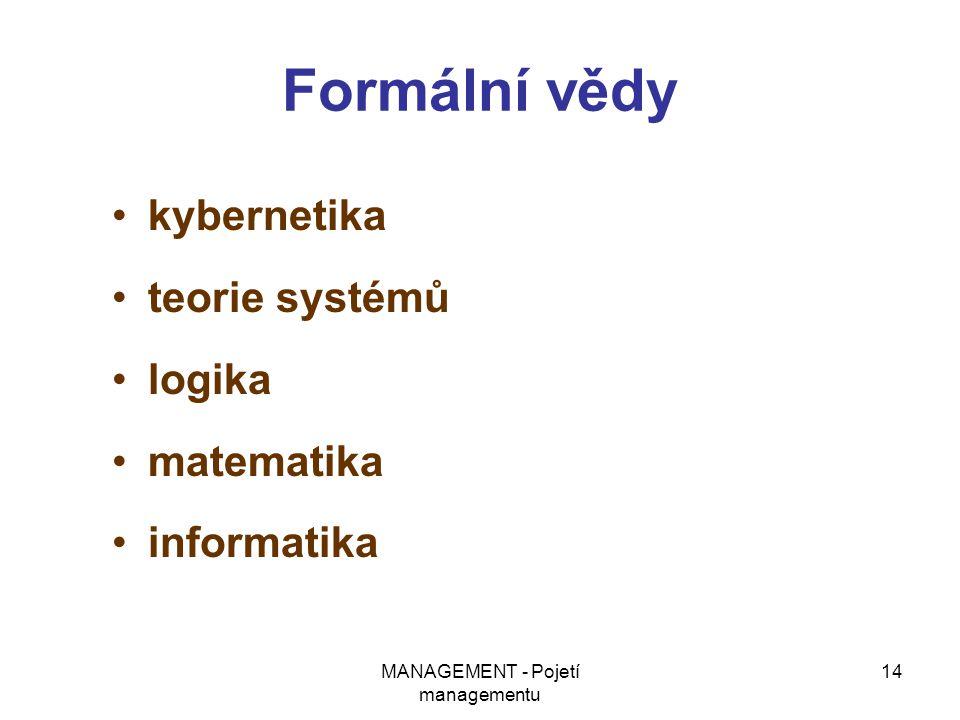 MANAGEMENT - Pojetí managementu 14 Formální vědy kybernetika teorie systémů logika matematika informatika