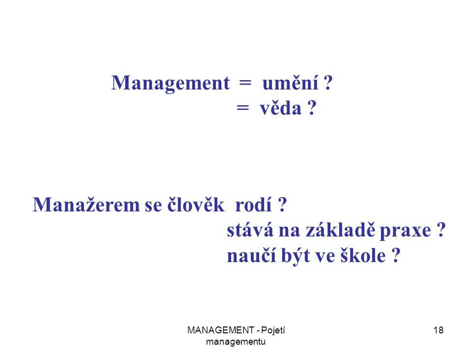 MANAGEMENT - Pojetí managementu 18 Management = umění ? = věda ? Manažerem se člověk rodí ? stává na základě praxe ? naučí být ve škole ?