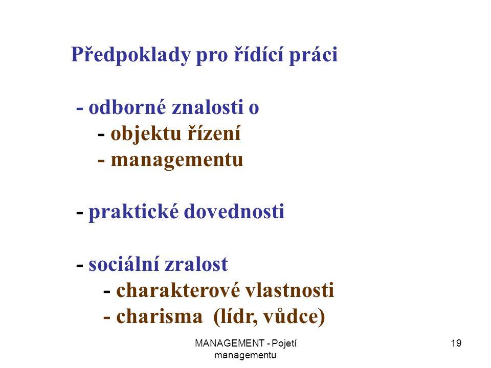 MANAGEMENT - Pojetí managementu 19 Předpoklady pro řídící práci - odborné znalosti o - objektu řízení - managementu - praktické dovednosti - sociální