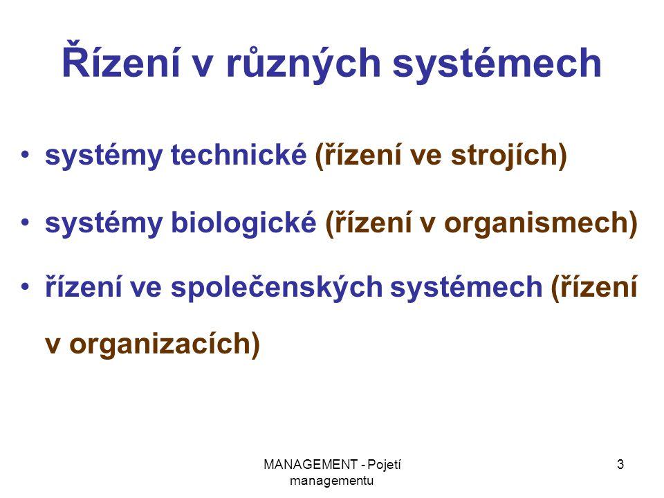 MANAGEMENT - Pojetí managementu 3 Řízení v různých systémech systémy technické (řízení ve strojích) systémy biologické (řízení v organismech) řízení v