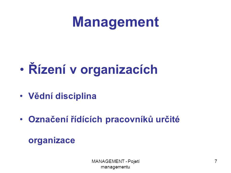 MANAGEMENT - Pojetí managementu 7 Management Řízení v organizacích Vědní disciplina Označení řídících pracovníků určité organizace