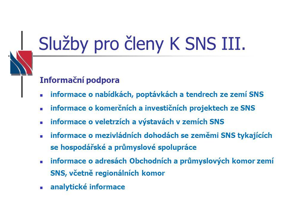 Služby pro členy K SNS III. Informační podpora informace o nabídkách, poptávkách a tendrech ze zemí SNS informace o komerčních a investičních projekte