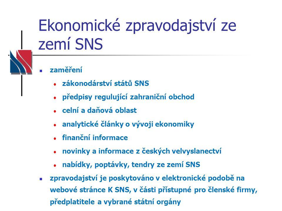 Ekonomické zpravodajství ze zemí SNS zaměření zákonodárství států SNS předpisy regulující zahraniční obchod celní a daňová oblast analytické články o