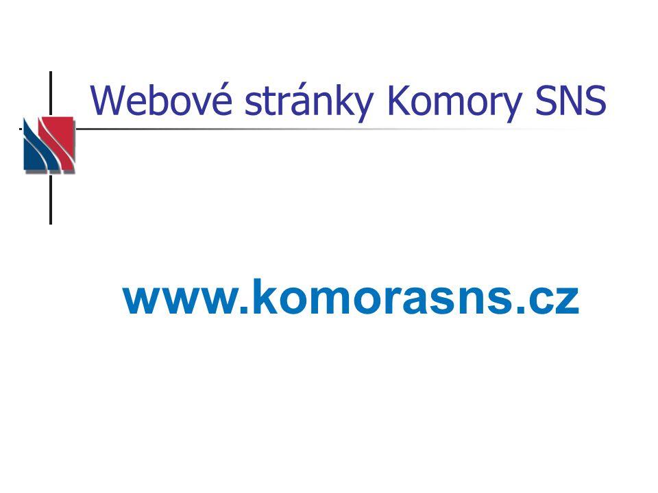 Webové stránky Komory SNS www.komorasns.cz