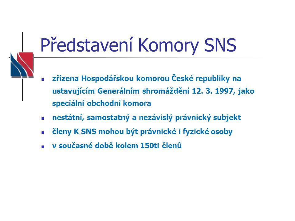 Představení Komory SNS zřízena Hospodářskou komorou České republiky na ustavujícím Generálním shromáždění 12. 3. 1997, jako speciální obchodní komora