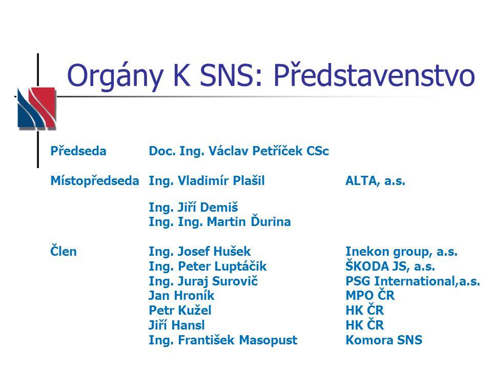 Orgány K SNS: Představenstvo PředsedaDoc.Ing. Václav Petříček CSc MístopředsedaIng.