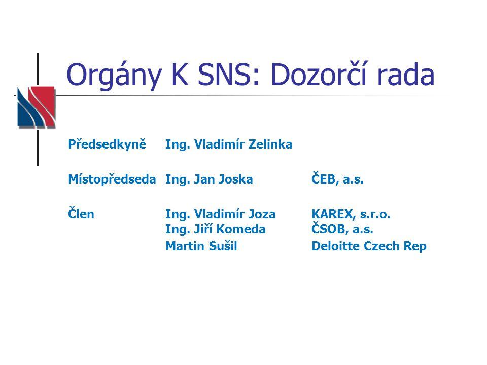 Orgány K SNS: Dozorčí rada PředsedkyněIng.Vladimír Zelinka Místopředseda Ing.