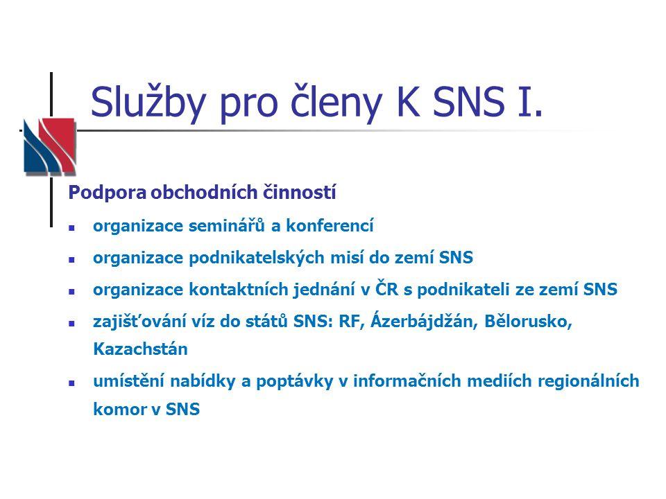 Služby pro členy K SNS I. Podpora obchodních činností organizace seminářů a konferencí organizace podnikatelských misí do zemí SNS organizace kontaktn