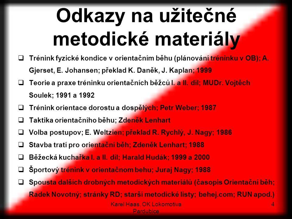 Odkazy na užitečné metodické materiály  Trénink fyzické kondice v orientačním běhu (plánování tréninku v OB); A.