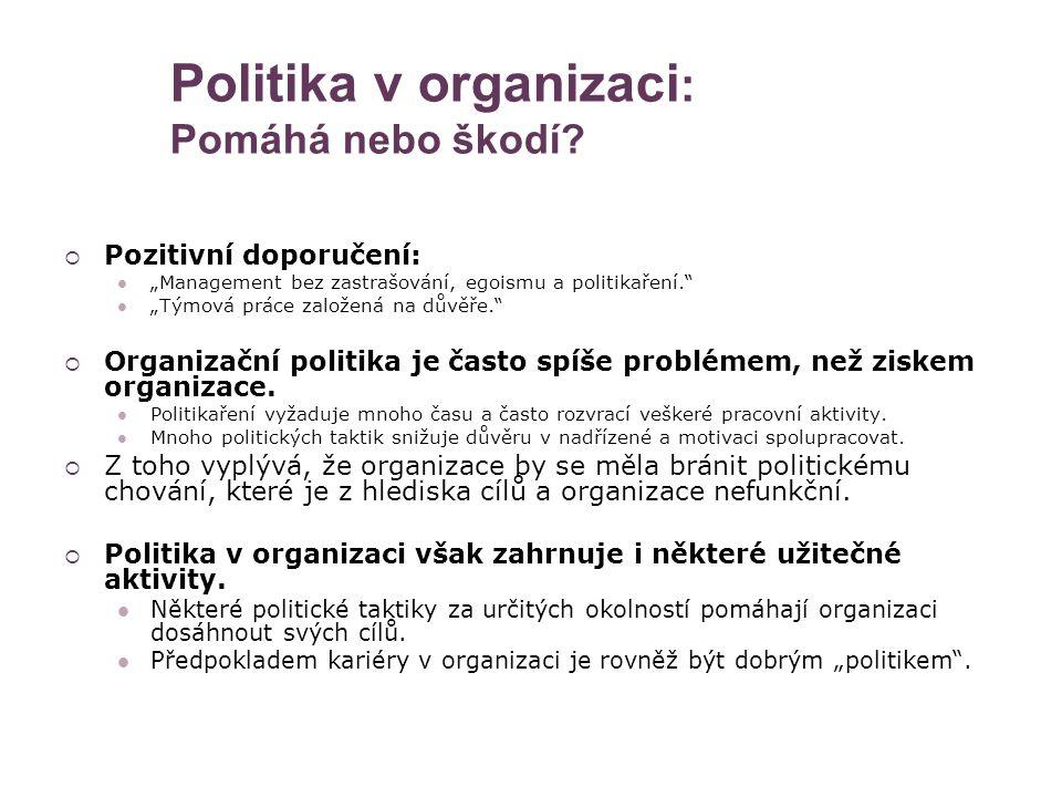 """Politika v organizaci : Pomáhá nebo škodí?  Pozitivní doporučení: """"Management bez zastrašování, egoismu a politikaření."""" """"Týmová práce založená na dů"""