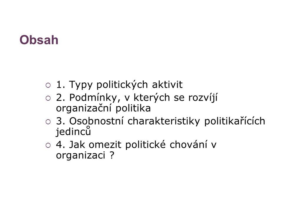 Obsah  1. Typy politických aktivit  2. Podmínky, v kterých se rozvíjí organizační politika  3. Osobnostní charakteristiky politikařících jedinců 