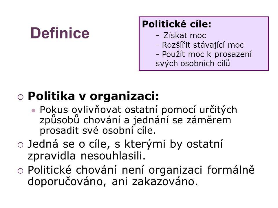 Definice  Politika v organizaci: Pokus ovlivňovat ostatní pomocí určitých způsobů chování a jednání se záměrem prosadit své osobní cíle.  Jedná se o