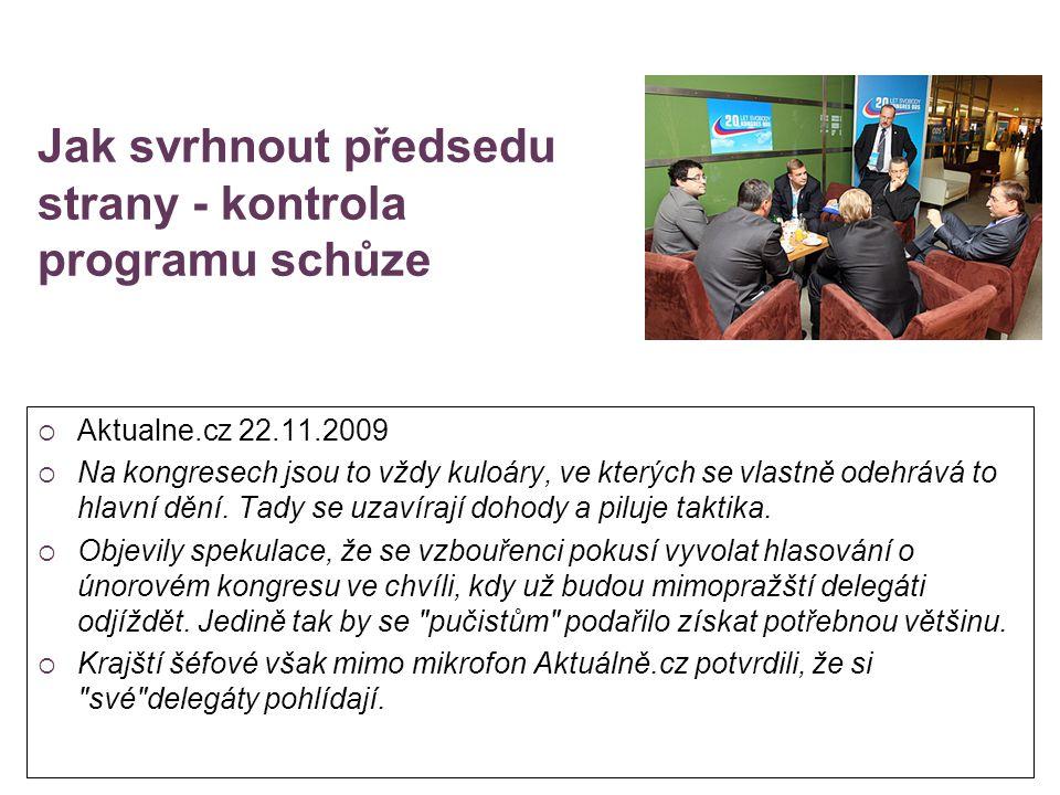 Jak svrhnout předsedu strany - kontrola programu schůze  Aktualne.cz 22.11.2009  Na kongresech jsou to vždy kuloáry, ve kterých se vlastně odehrává
